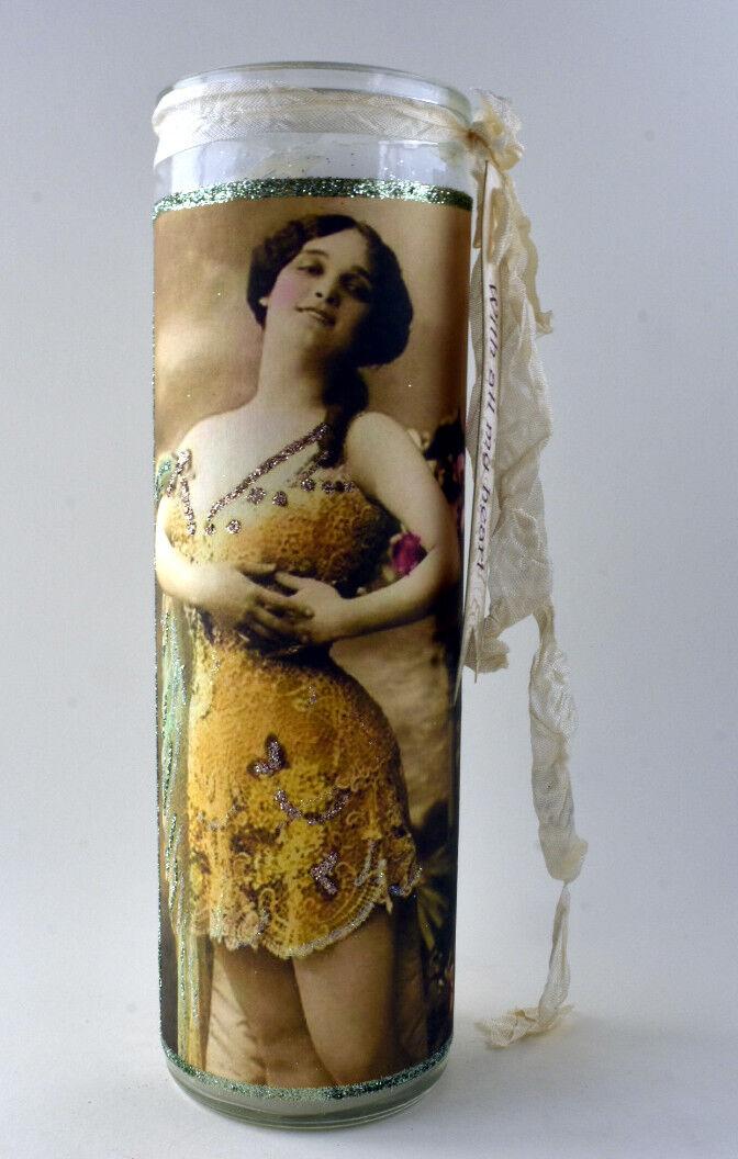 Sophie  Hand Embellished Pillar Candle New OOAK