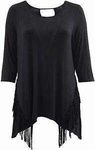 Women-Plus-Size-Top-Asymmetric-Fringe-Hem-Knit-Top-Shirt-Black-SE16013