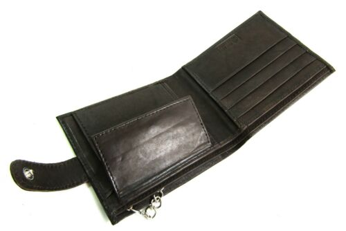 Real Soft Leather Chain Wallet Coin Pouch Card Holder Purse With RFID Protection