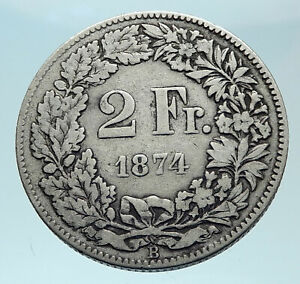 1874 SWITZERLAND - SILVER 2 Francs Coin HELVETIA Symbolizes SWISS Nation i79007