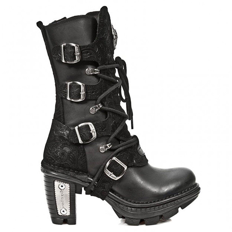 New New New Rock Mujeres M. NEOTR 005-S2 Negro Cuero botas Taco de encaje goth  Ahorre 35% - 70% de descuento