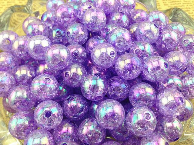 NEW!!10/50/100pcs 12mm AB Chunky Crack Beads Jewelry Pendant Bubblegum Necklace