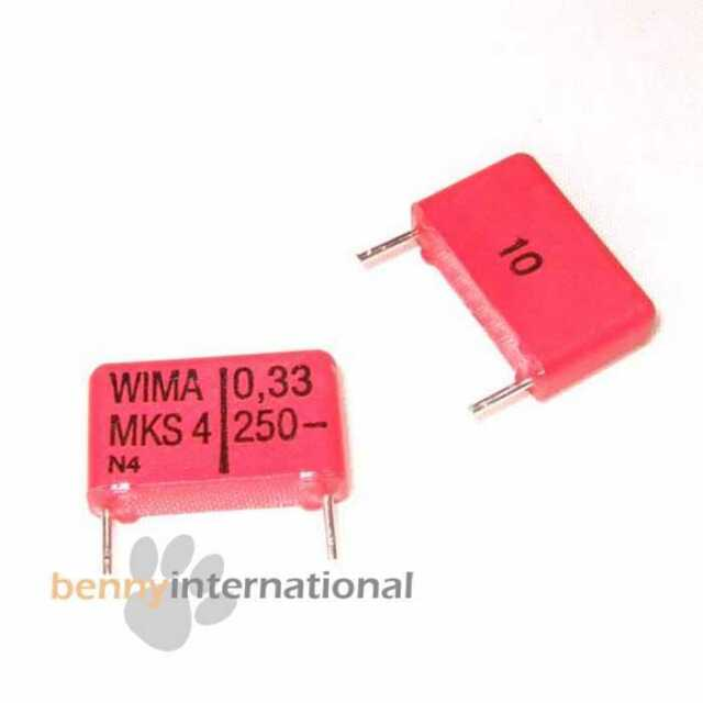 10x 0.33uF 250V MKS4 WIMA CAPACITOR Metallized Polyester PET 330nF - AUS STOCK