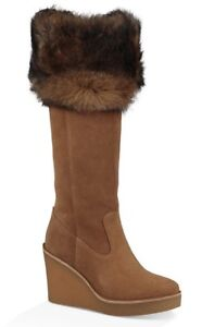 NEW-IN-BOX-UGG-Australia-Valberg-Chestnut-Suede-Fur-Cuff-Wedge-Riding-Boots-9-5