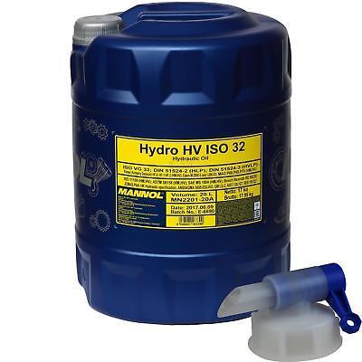 20 L Mannol Hydro Hv Iso 32 Olio Idraulico Hvlp 32 Oil Din 51524/3 + Rubinetto