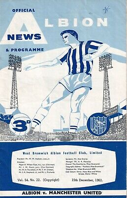 West Bromwich Albion Manchester United 1962 football ...