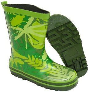 Kids Boys Girls Green Jungle Print Wellington Casual Rubber Boots Kid Shoes 9-2