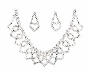Bling-Bling-Stunning-Clear-Crystal-Diamante-Necklace-and-Earrings-Jewellery-Set