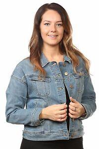 Giacche-in-Denim-Donna-Casual-Wear-Jean-mix-materiale-patta-tasca-blu-seconda-XS-L