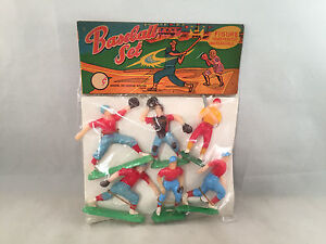 Vintage Baseball Set of Hand Painted Unbreakable Figures Original Pkg. Hong Kong