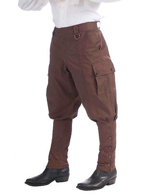 20's Steampunk Victorian Sci Fi Breeches Fancy Dress Brown Trousers Pants New