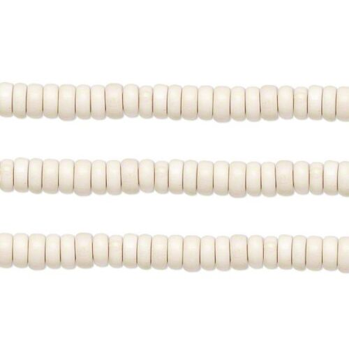 Wood Rondelle Beads White 8x4mm 16 Inch Strand