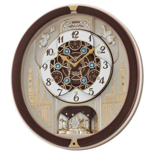 Seiko qxm291b brown mélodies musique analogiques en mouvement horloge murale antique nouveau