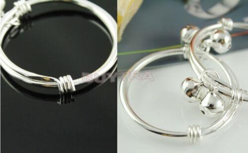 Silver Plated Newborn Kids Baby Bells Bracelet Bangles Anklet Adjustable EcHGUK