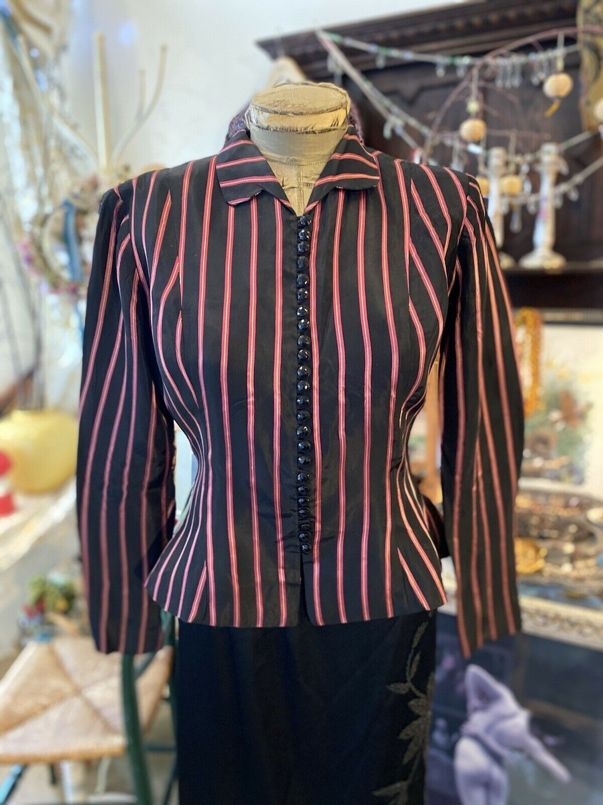 Vintage Rare Ceil Chapman  satin  stripe Fitted A… - image 4