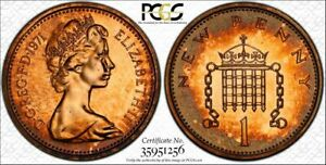 1971-GREAT-BRITAIN-ONE-1-PENNY-PCGS-PR66RD-BEAUTIFUL-amp-TONED-HIGH-GRADE-COIN