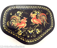 Russian Lacquer box ROOSTERS  Mstera Hand painted Art Work Signed