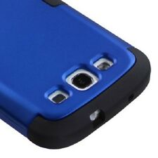 For Samsung Galaxy S III 3 Rubber IMPACT TUFF HYBRID Case Phone Cover Blue Black