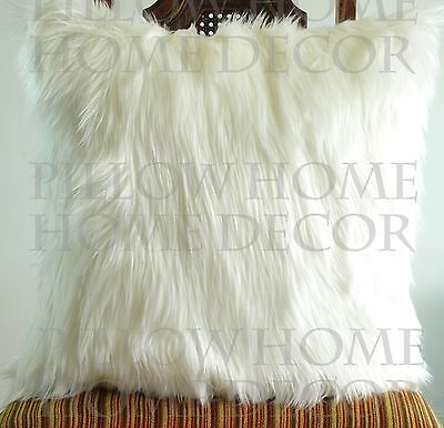 Ivory Fur pillow throw 22 X 22 fluffy fur white linen pillow cover decorative