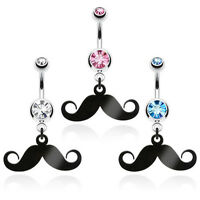 B57 - 3pc Mustache Belly/navel Rings Wholesale Lot Clear, Pink And Blue Gems