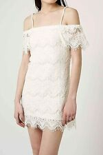 Cream Layered Lace Bardot Style Summer Shift Dress Ex Topshop New Size 6