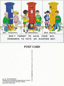2001-REMEMBER-TO-VOTE-ROSALIND-WICKS-ADVERTISING-UNUSED-COLOUR-POSTCARD