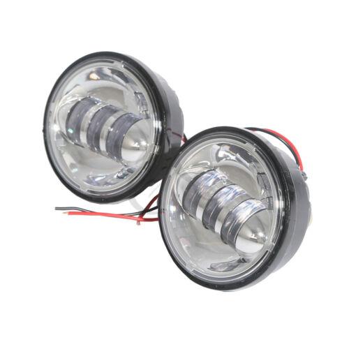 Chrome 4-1/2 30W LED Auxiliary Fog Passing Lights For Harley FLHTP FLHTI