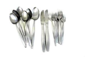 Vintage-4-AMERE-Stainless-Flatware-Japan-18-Pieces-Forks-Knives-Spoons-Dinner