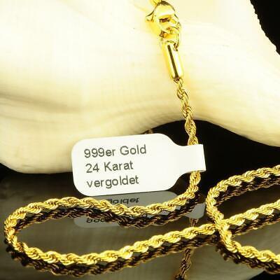 Vornehm Kordelkette 2 Mm Halskette Echt 999 Gold 24 Karat Vergoldet Damen Herren K1999s Schrumpffrei