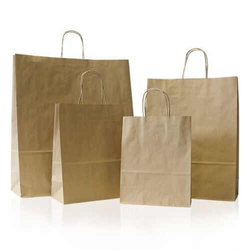 25 x Brown Paper Party Bags Twisted Handles 18x25+8cm Wedding Birthday Gift