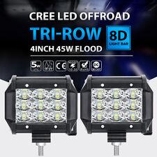 "2X TRI-ROW CREE 4""INCH 45W LED WORK LIGHT BAR FLOOD OFFROAD 4WD VS 18W TRUCK ATV"