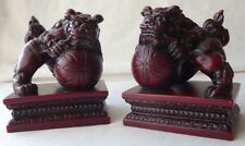 """PAIR OF BOXED CHINESE  SHOU- SHAN FOO DOGS FIGURES / STATUES 3"""" T - NEW"""