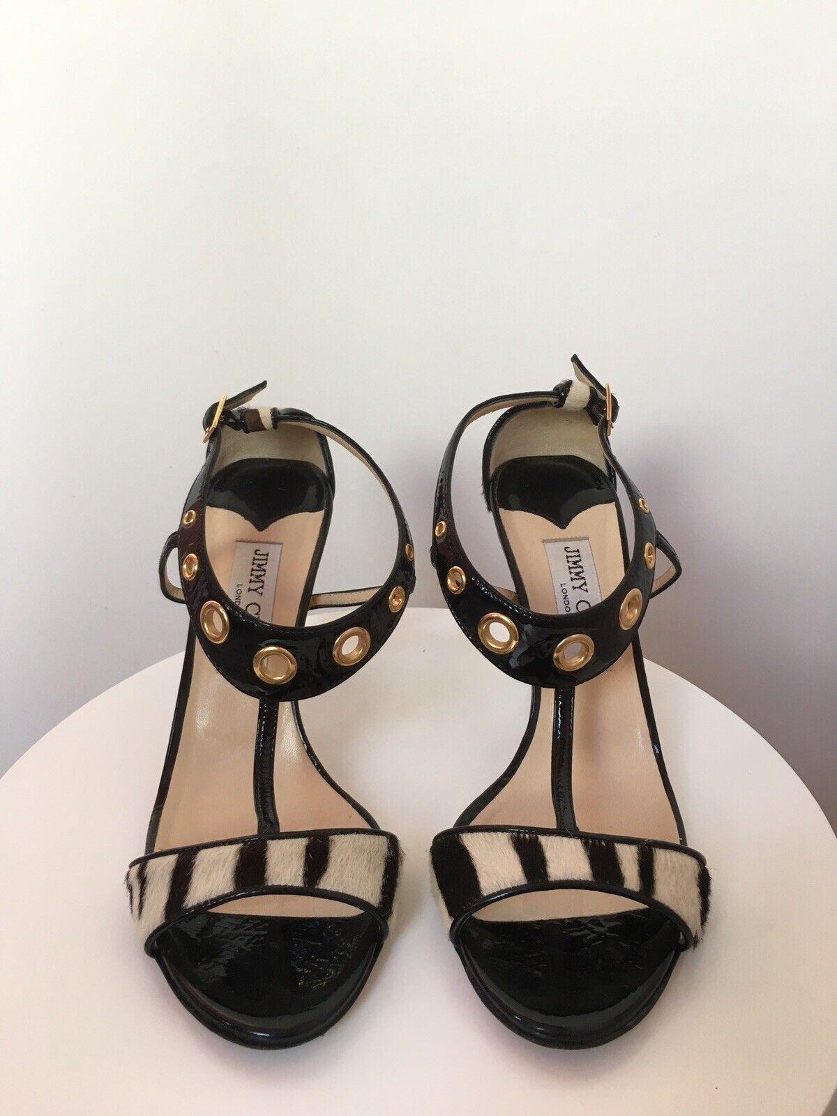 Jimmy Choo 85mm Zebra Pony Hair And Black Patent Leather Stiletto Sandals 38.5