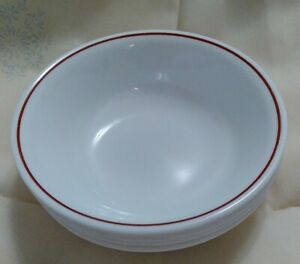 Vintage-Corelle-White-with-Maroon-Rim-Soup-Cereal-Bowls-Set-Four-USA