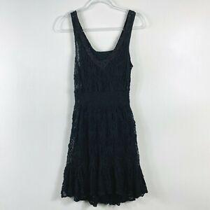 Free People Size Small Black Lace Beaded Neck Dress Sleeveless Short Mini Boho