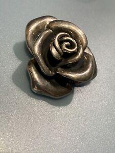 Vintage Sterling Silver Rose Brooch Pin Signed 925