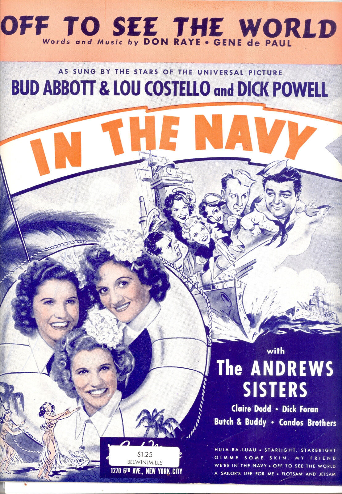 IN THE NAVY Sheet Music  Off To See The World  Abbott & Costello Andrews Sisters