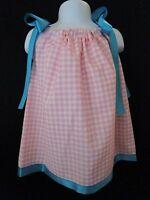 Cozy Bug Pink & White Gingham Check Pillow Case Dress W/ Aqua Ties & Trim