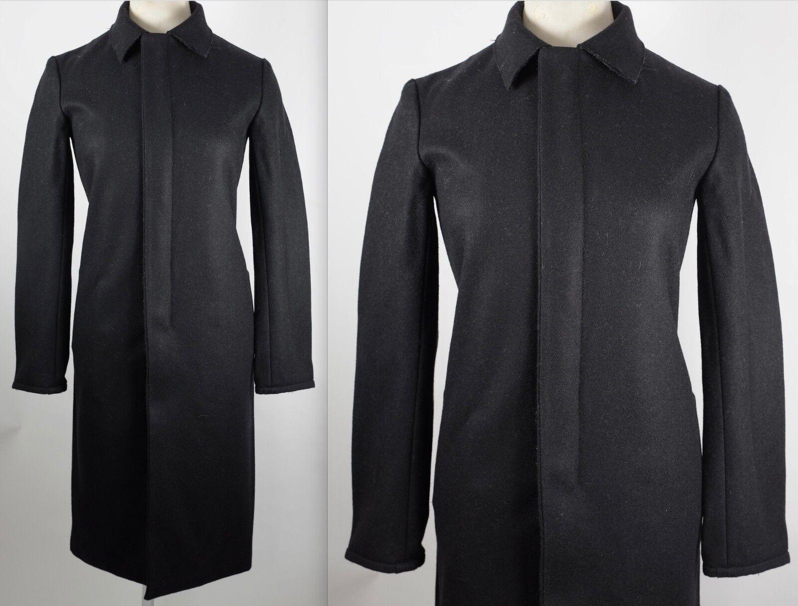 Nuevas Talla 38 US 4  ANN DEMEULEMEESTER Negro Abrigo Largo de cuello de embudo  los últimos modelos