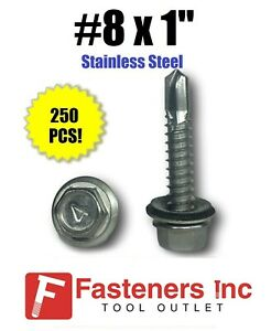 "250 #10 x 3//4/"" Stainless Steel Roofing Siding Screws Hex Washer Head TEK EPDM"