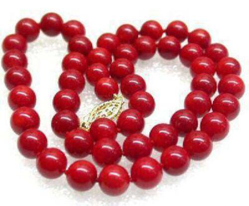 10 mm corail rouge couleur coquille perle poisson 18KGP Fermoir femmes Lady fille Parti Collier