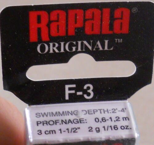 Rapala Original Floating Minnow F-3 S Balsa Wood Crankbait Trout Fishing Lure