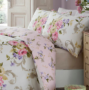 Image Is Loading Ella Pink Duvet Cover Set Fl Bouquet Beige