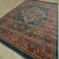Kash Rugs Traditional Wilton Washed Antique Look Rug Blue & Red 160x230cm