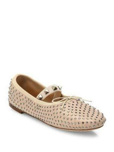 Valentino Leather Crystal Rockstud Studded Leather Valentino Ballerina Ballet Flat Shoes Nude $795 a4b8c3