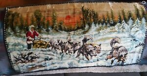 Vintage-Snow-Sled-Dog-Woven-Rug-Tapestry-Wall-Hanging-38-034-x-19-034