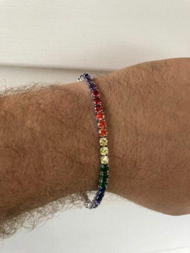 "Solid 925 Sterling Silver 4mm Multicolor Rainbow Gay Pride Tennis Bracelet 6-9/"""