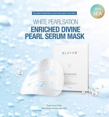 KLAVUU WHITE PEARLSATION Enriched Divine Pearl Serum Mask 1Box (5EA) US SELLER F