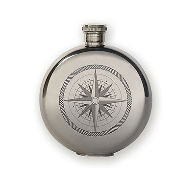 kikkerland COMPASS FLASK 3 ounce/ 89 ml Canteen, Stainless Steel BA31-S