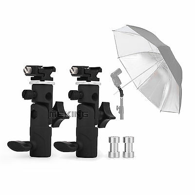 "2pcs Flash Shoe Umbrella Holder Swivel Light Stand Bracket E II 1/4""-3/8"" screw"